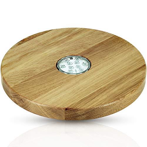 Blowglow Shisha Untersetzer led | Shisha Zubhör | Holz: Eiche | Sehr groß: 30cm Durchmesser | Hochwertige Handarbeit | led Lampe inklusive