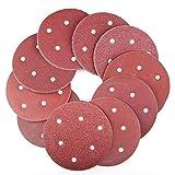 WHLEHL Papel de lija,90 pcs/set Discos de lijado de gancho y bucle de 5 pulgadas y 6 orificios Lijadora orbital surtida de arena arena redonda, rojo