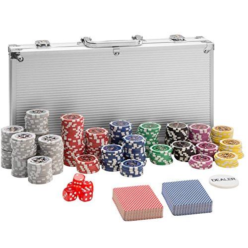 TecTake Maletn de Pker Aluminio con fichas lser Poker Chips | Plateado | Incl. 5 Dados + 2 Barajas de Cartas + 1 ficha de Dealer (300 Pieza | Plateado | no. 402557)