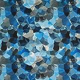 Fabulous Fabrics Blusenstoff Crèpe Digitaldruck Aquarell – blau — Meterware ab 0,5m — zum Nähen von Blusen, Kleider und Tops