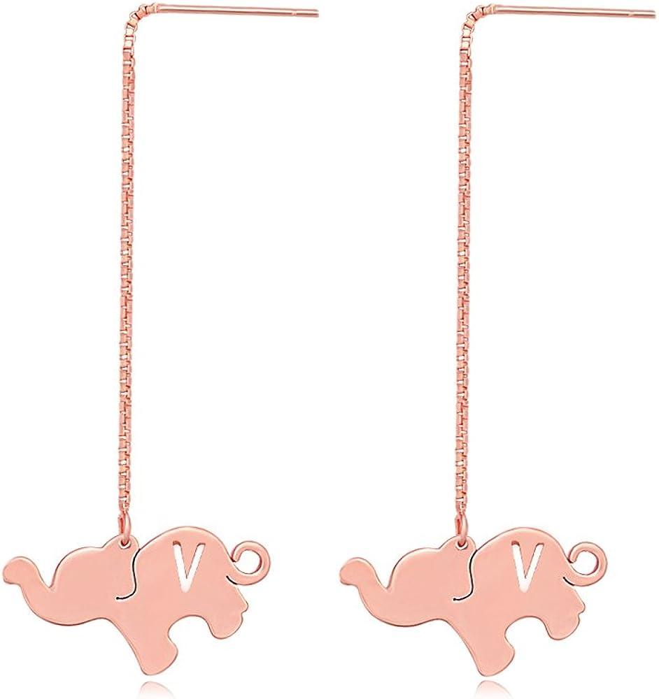TUSHUO Alphabet Elephant Earrings Rose Gold Dangle Style Hollow 26 Letters Elephant Chain Earrings (V)