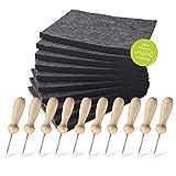 Familienmomente Sparpaket Prickel-Zubehör (10 Prickelfilze 20x14,5x1 cm und 10 Prickelnadeln mit Holzgriff 8,5 cm) Prickelset