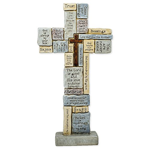 Roman Table Cross with Words of Encouragement and Prayers, 12.5