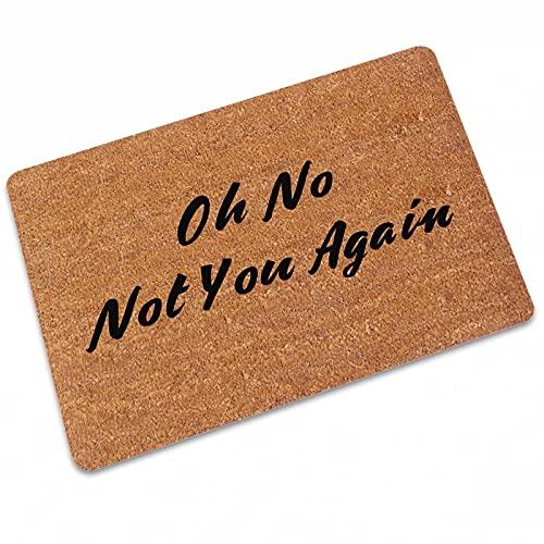 Oh Shit Not You Again - Felpudo para entrada de entrada, para interiores o exteriores, alfombras de patio, alfombrillas de bienvenida al aire libre, 23.6 x 35.4 pulgadas, color marrón