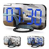 Cliusnra Klein Spiegel Digital Wecker: LED-Anzeige Schlafzimmer Elektrisch Kompakt Mode Uhr Batterie...