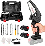 Mini Chainsaw Cordless Battery Power-Chain-Saws - 4 Inch Electric Battery Powered Chainsaw Small Portable One-Hand Handheld, 26V Rechargeable Operated for Tree Trimming, Branch and Wood Cutting(Black)