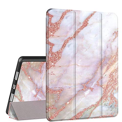 iPad 9.7 2018/2017 Case,iPad Air 2/Air Case, Rossy PU Leather TPU Shock Trifold Stand Folio Smart Cover with Auto Wake/Sleep & Pencil Holder for Apple iPad 6th/5th Gen,Pink Marble