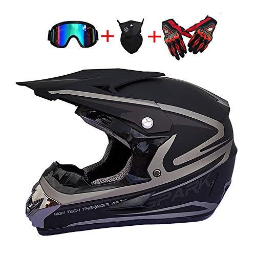 XIAMI Casco Cruzado de Motocicleta con Gafas (4 Piezas), Negro para Adultos,...