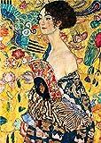 Puzzle de madera 1000 s Klimt Woman Fan a puzzle para adultos y niños, piezas jumbo de madera
