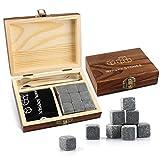 Granito Ice Tartar Whisky Stones Whisky Ice Cubes Juego de Regalo Cubos de Hielo de Granito Reutilizables Que Incluyen 9 Piedras de enfriamiento + Bolsa de Almacenamiento + Caja de Madera + Pinzas