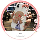 CaserBay】Compatible-iPhone Case Cartoon Kawaii Cute Animal, Birdie, Flower Series Emboss Texture Painting Translucent Soft Slim Phone Cover【Girl-A, for 5.8' iPhone Xs & iPhone X】