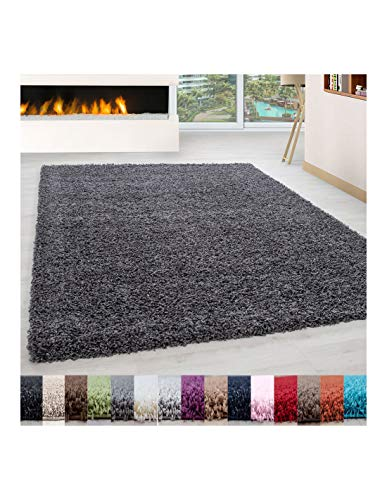 Carpet 1001 Pelo Largo Peluda Shaggy Sala de Estar Alfombra de Diferentes Tamaños y Colores - Gris, 160x230 cm