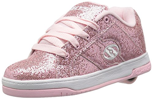HEELYS Girls Split Sneaker, Light Pink Disco Glitter, 4 Little Kid