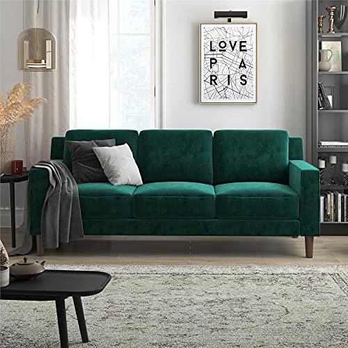 DHP Brynn 3 Seater Sofa, Green Velvet