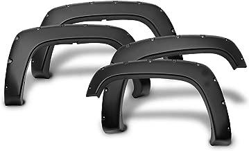 Ikon Motorsports FF-CSV88PKPP-BK Pocket Rivet Style Fender Flares (4-Piece) | Front & Rear | Smooth Black Finish | Compatible W/ C1500 K1500