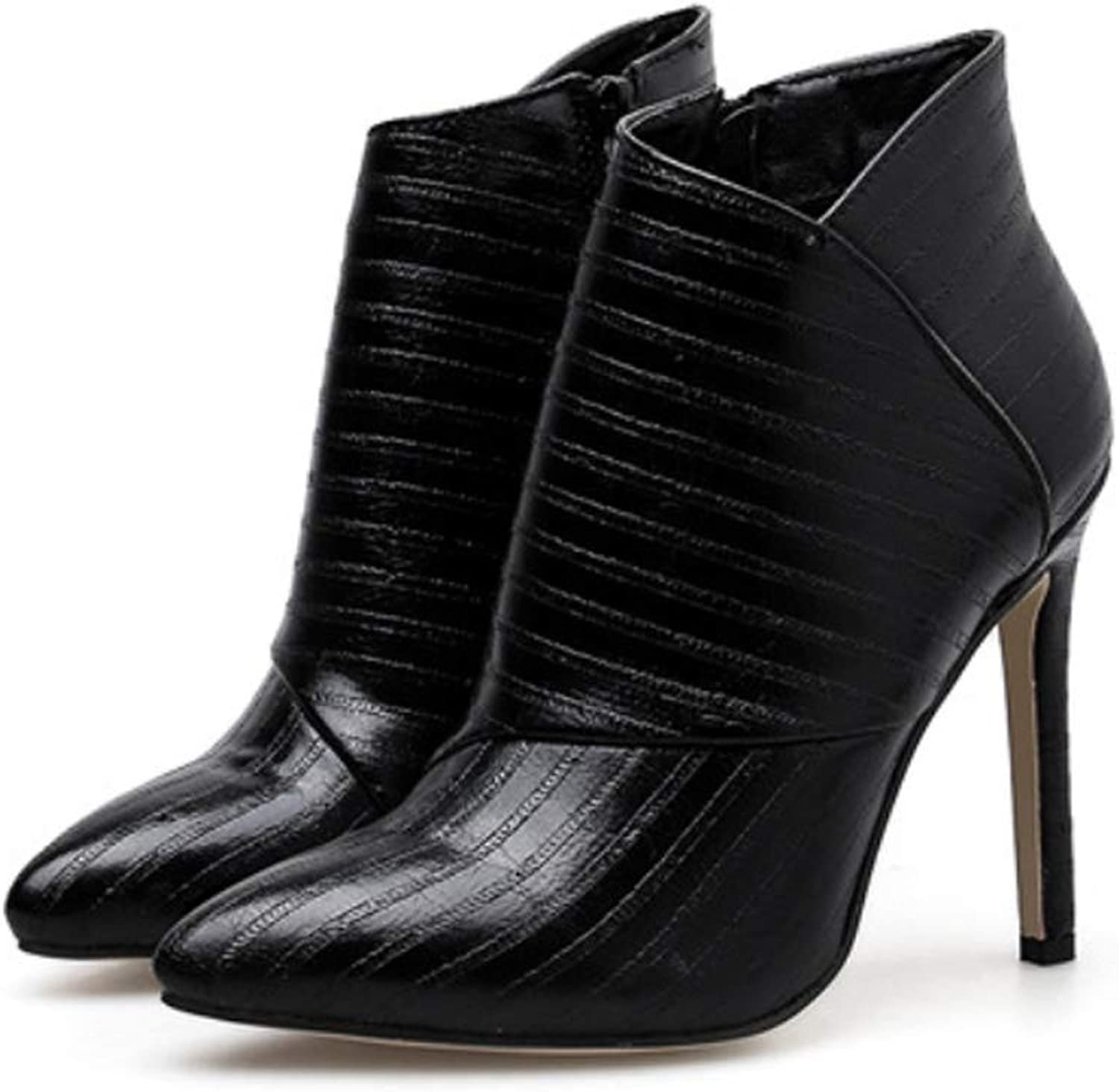 Ankle Boots Womens Fashion Stiletto Heel Pointed Toe shoes Black 2018 Fall