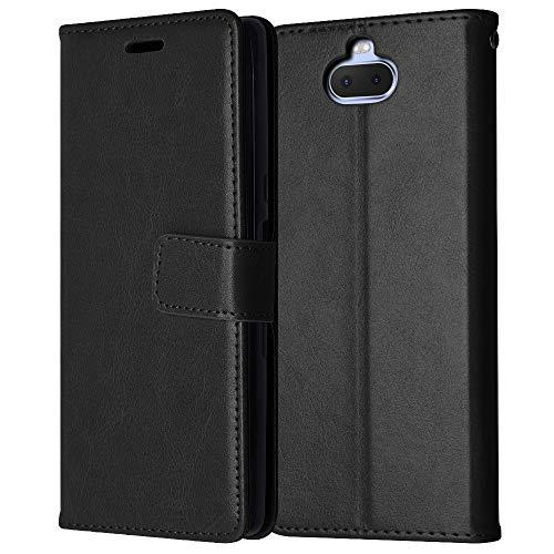 TECHGEAR Leder Hülle kompatibel mit Sony Xperia 10 Plus - PU Leder Flip Hülle Schutzhülle Ledertasche [Brieftasche] Handyhülle mit Ständer & Handschlaufe Beutel Hülle - Schwarz
