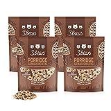 3Bears Porridge Cacao Elegante – Paquete 4er (4x400g) con Virutas de Cacao, sin aditivos de azúcar, avena fría, desayuno, 100% Natural