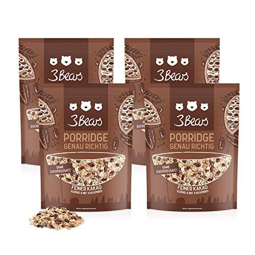 3Bears Porridge Feiner Kakao 4 x 400g I Leckere Hafermahlzeit für ein gesundes Frühstück, ohne Zusatz von Zucker I Auch als Overnight Oats oder veganes Oatmeal zu genießen