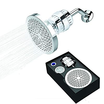 Shower Head Water Filter Set, 18 Stage Filter Shower Head Filter for Hard Water Removes Chlorine and Heavy Metals, 1 Replaceable Filter Cartridge