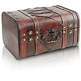 Brynnberg - Caja de Madera Cofre del Tesoro Pirata de Estilo Vintage, Hecha a Mano, Diseño Retro 32x26x20cm