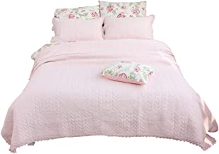 240× 250 cm Lace Bedspread, Solid Color Cotton Throw for Bed, Summer Cool Quilt Pink