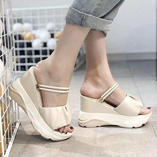 ypyrhh Zapatos para la Ducha y la Playa,Sandalias de tacón Alto de Dos usos para Mujer, Chanclas, Zapatillas Antideslizantes-Beige_37,Chanclas Infantiles Havaianas