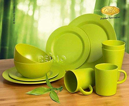Camp 4 Bambus Geschirr-Set LUGO Lime, 10-teilig für 2 Personen