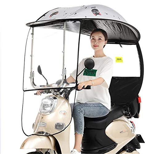 GPFDM Electric Bicycle Sunshade Shelter Rain Cover, Universal Car Motor Scooter Umbrella Mobility Sun Shade,with PVC Windshield,Black,A
