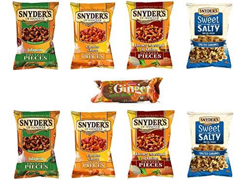 Snyders Brezeln 8er Pack (je 125 g) - 2x Jalapeno, 2x Honig-Senf-Zwiebel, 2x Cheddar-Käse, 2x süß und salzig mit KOSTENLOSEM Munchee-Ingwer-Keks