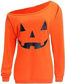 TIANTI Women Halloween Blouse Fashion Off Shoulder Sweatshirt Casual Vintage Funny Shirt Long Sleeve Pullover Tops