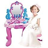 Xhtoe Niños Mesas de tocador Juguetes para niños Toddler Fantasy Vanity Beauty Dresser Table Play Set Accesorios de Maquillaje para niños y Juguetes de fantasía Regalo para los niños niñas