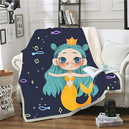 Manta Estampada Chica Sirena de Dibujos Animados Amarillo Azul Gris Terciopelo de Cristal Lateral A, Terciopelo de Lana Blanca Lado B (180 x 200 cm) para Sala de Estar, hogar,
