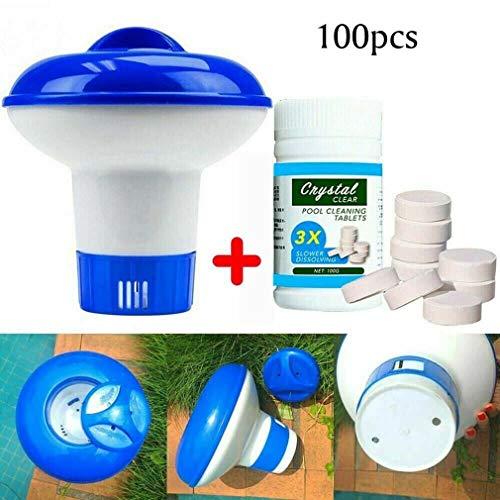 HAZUN Magic Swimming Pool Reinigungstablette mit schwimmendem Chemikalienspender, Poolwartungstabletten - Schwimmbad- und Spa-Wassertestkit (1 Bottle(100Tablets) + 1 Dispenser)