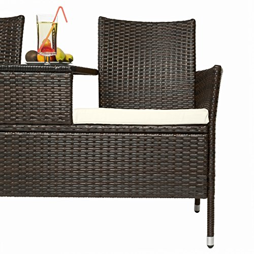 TecTake Sitzbank mit Tisch Poly Rattan Gartenbank Gartensofa inkl. Sitzkissen - Diverse Farben - (Schwarz-Braun | Nr. 401548) - 5