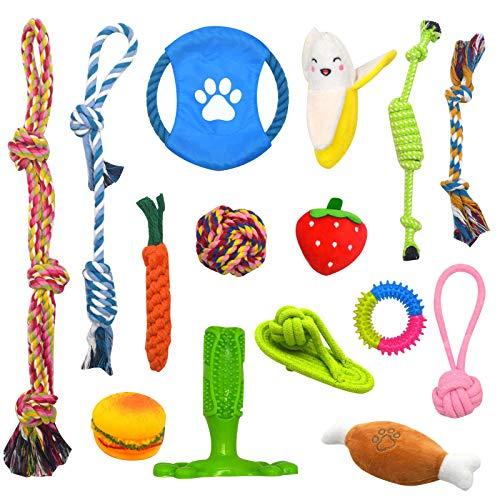 Juguetes para Perros, 15 Piezas Cuerda de Juguete para Perro Durable Masticable Perro Masticar Juguete de Entrenamiento de Dientes para Cachorros Pequeños Medianos Grandes Perros