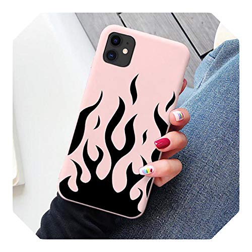 Artistic Personality Flame Pattern Phone Case for iPhone 6 6S 7 8 Plus X Xr Xs Max 11 Pro Max Soft Silicone Phone Cover Shell-Flame Pink Red-for iPhone Xs Max