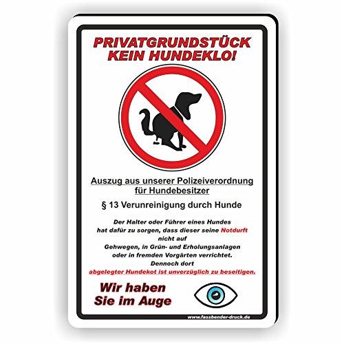 Fassbender-Druck SCHILDER Privatgrundstück - Kein Hundeklo Schild/Kein Hundekot/T-001 (20x30cm Schild)