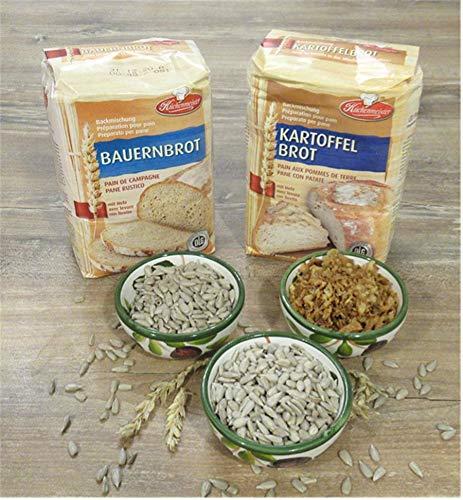 Leguana Handels GmbH 2-er Set Brotbackmischungen Bauern- & Kartoffelbrot, für insgesamt 4x750g Brot, incl. Bio-Sonnenblumenkörner & Röstzwiebeln