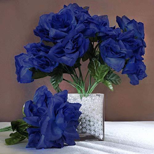 Efavormart 84 Artificial Open Roses for DIY Wedding Bouquets Centerpieces Arrangements Party Home Wholesale Supplies - Royal Blue