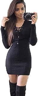 Women Winter Dresses Long Sleeve Knitted Bodycon Sweater Fashion Dress
