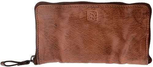 DuDu Portafoglio donna in pelle vissuta vintage Cocoa Brown metal zip around