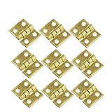 DOITOOL 50 Piezas Mini bisagras de latón para joyero con 200 Piezas Tornillos pequeñas bisagras para Caja de Madera gabinete de Muebles en Miniatura