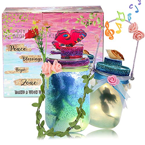 foci cozi 2er Pack Fee und Meerjungfrau Nachtlicht Laterne Handwerk für Mädchen - DIY Fairy Garden Kit Glas Licht Dekor Kunsthandwerk Lieferungen Kinder Spielzeug Lampe Geschenk zum Geburtstag