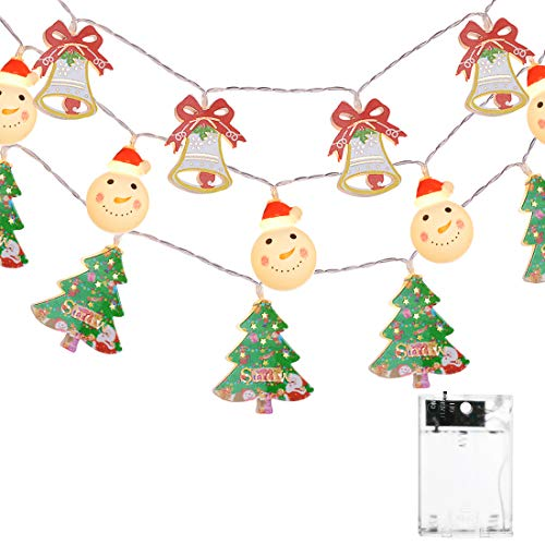 Elitlife Christmas Lights,Set of 3 Battery-Powered LED String Lights, Warm White Snowman Lights Christmas Bell Lights Christmas Tree Lights for Wedding Party,New Year, Garden Decoration