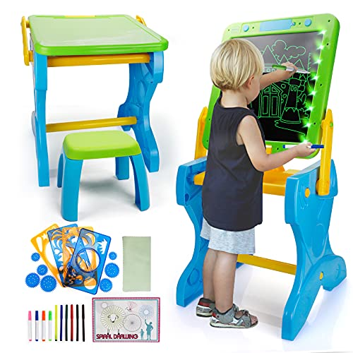 Forty4 Kids Table amp Chair SetKids Art Easels2 In 1 LED Doodle BoardFoldable Writing TabletDry Erase Painting Board with StandDrawing Board for KidsToddler Learning Table for Drawing Art Playroom