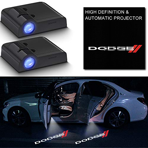 2Pcs Car Door Logo Light Projector for Dodge,LED Wireless Ghost Shadow Lights Door Welcome Courtesy Puddle Light for Caravan Grand Challenger Charger Magnum Dart Durango Neon Ram Promaster Accessories