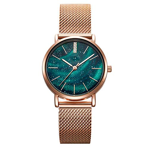 Women Watches Gypsophila Dial, Starry Dial Women Watches Waterproof Ultra-Thin Stainless Steel Strap Quartz Ladies Wristwatch (Green)