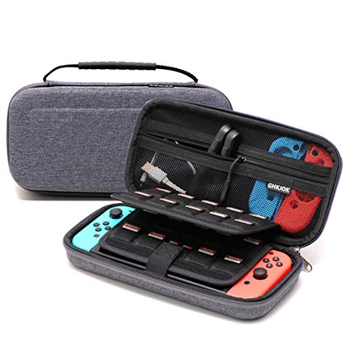 GHKJOK Double Layer Travel Gadget Bag for SWITCH Game Machine, Various USB Cable, Earphone Wire, SD Card, Hard Drive, Power Bank, IPhone and Ipad Mini-SWITCH Grey Gaming Machine Bag Built-in Black
