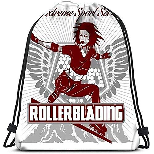 Sanme Mochilas con cordón Mochila Patinaje sobre Ruedas Roller Roller Travel Gym Bolsas Mochila Bolsas de Hombro